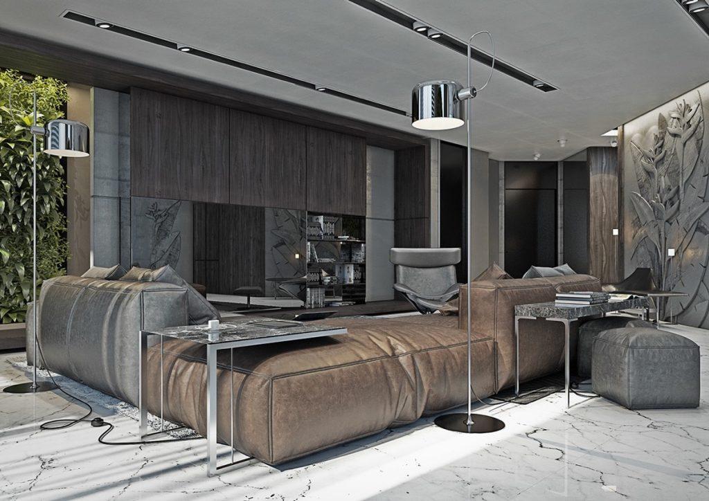 Combina muebles marrones con una sala gris