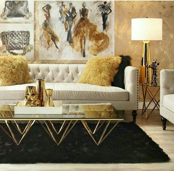 Salón blanco negro y dorado