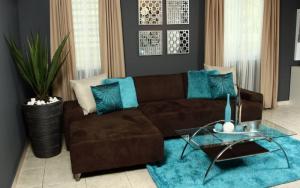 decorar la sala azul turquesa