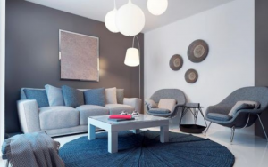 decorar una sala gris y azul