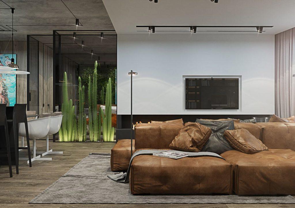 salón con muebles marrones y plantas