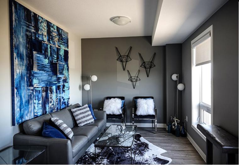 salón pintado en 2 tonos diferentes blanco y negro