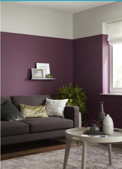 salón pintado en 2 tonos diferentes morado y blanco