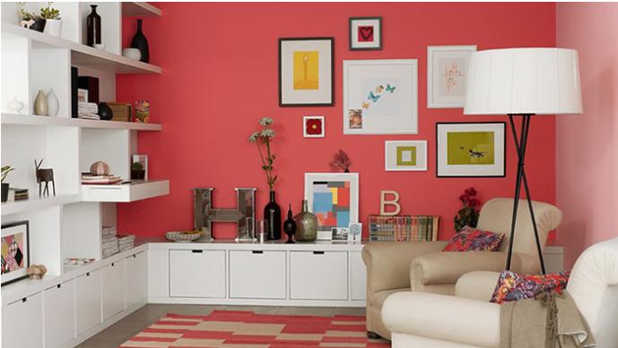 salón pintado en 2 tonos diferentes rosa y blanco