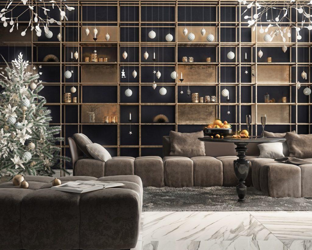 Salón con muebles Marrones lujosos y elegantes