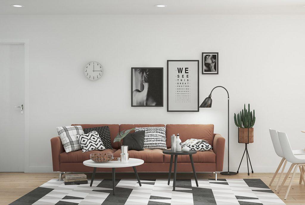Sala con muebles marrones estilo escandinavo
