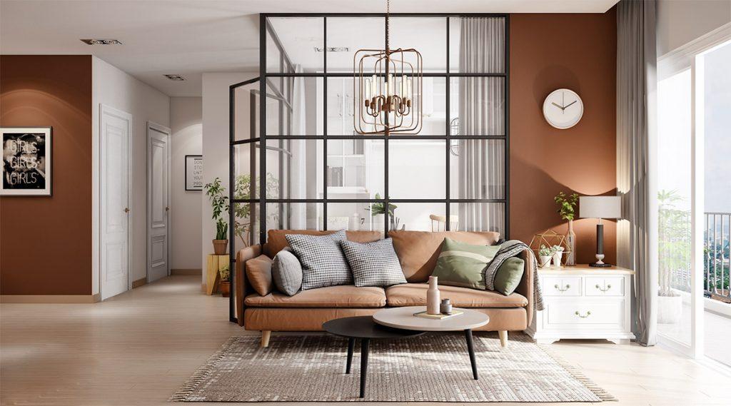 Sala con sofá y paredes marrones