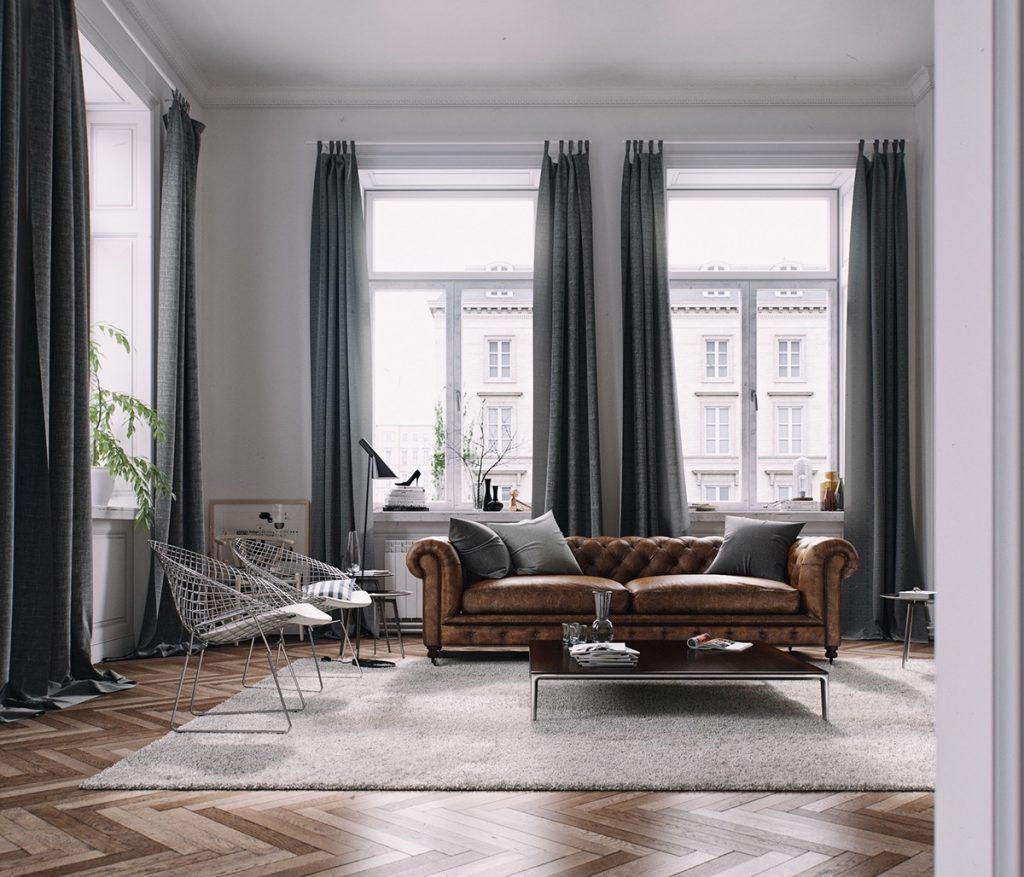 El suelo de madera es el mejor compañero de muebles marrones
