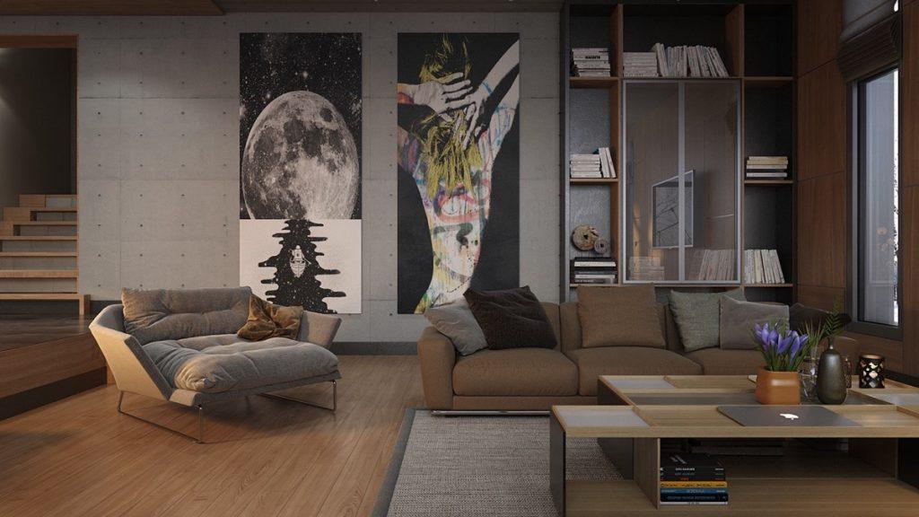 Sala con varios tonos de marrón en los muebles
