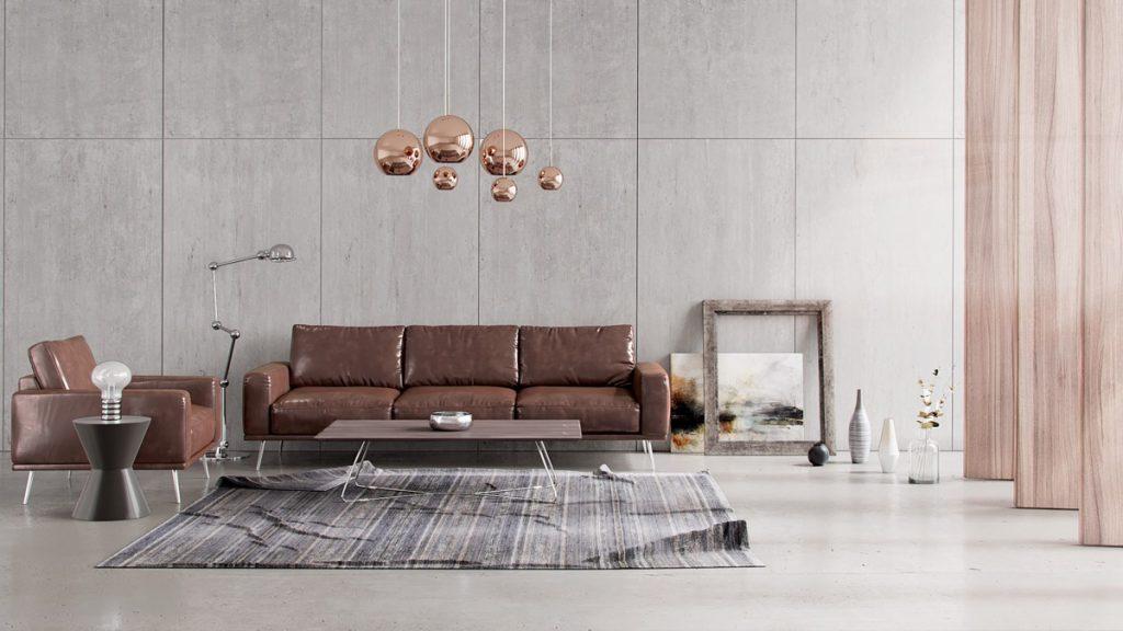 decora tu salon con muebles marrones y cobre