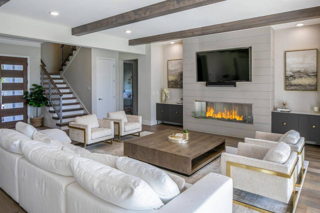 salon moderno bonito con colores neutros