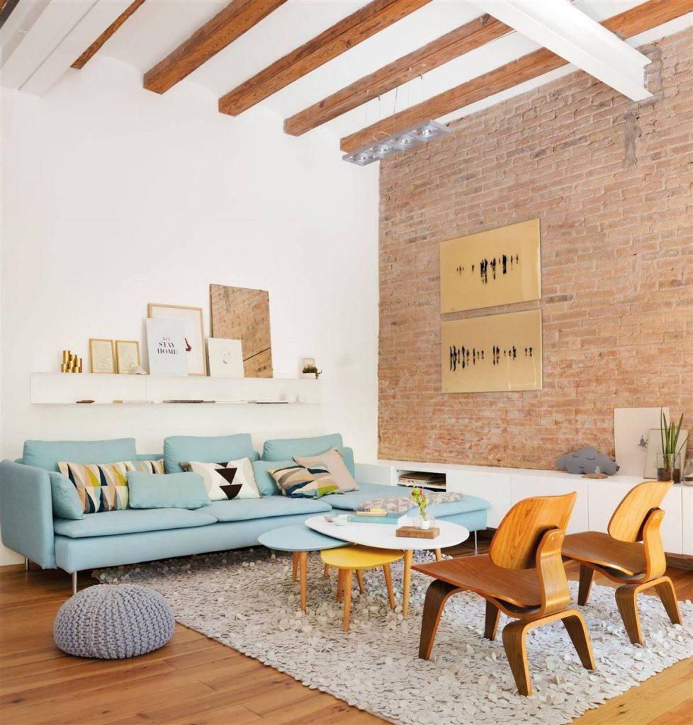pared original del salon con ladrillo