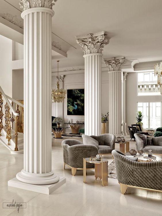 Elegancia clásica con columnas forradas, son casi obras de arte
