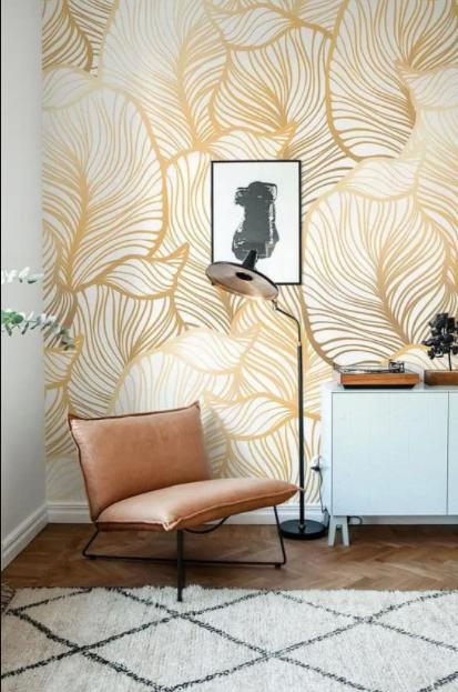 pared original del salon decorada con papel pintado