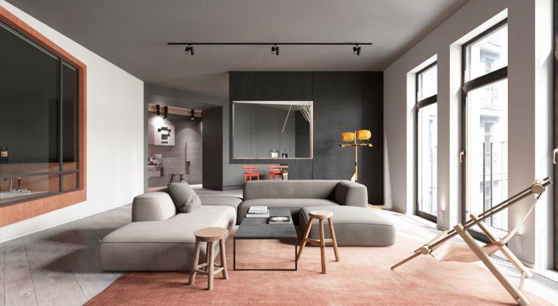 salon moderno bonito con muebles de diseño