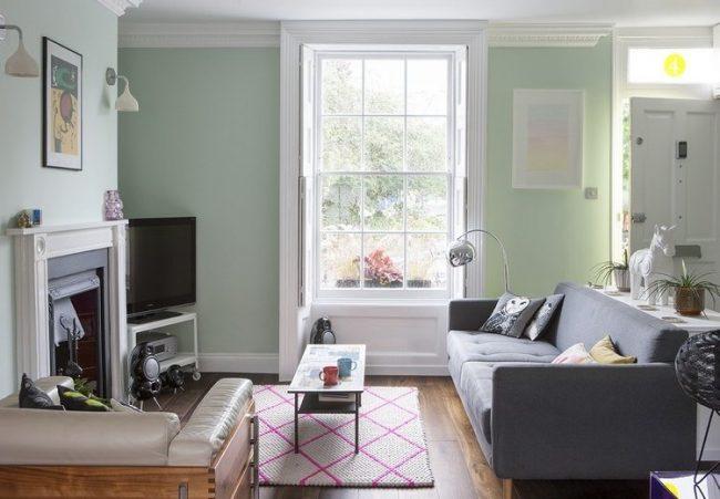 salon en tonos de verde ecologico