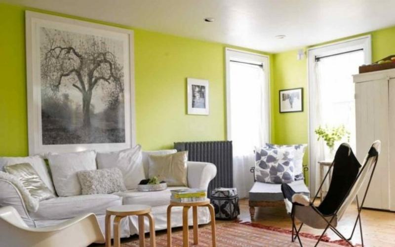 Tonos verdes para decoración de salón