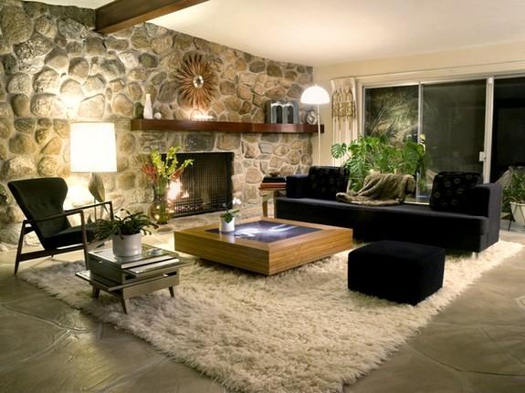 Salones Rústicos Modernos con Chimeneas con piedras