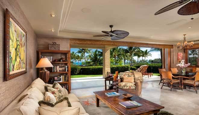 Ventiladores exóticos de techo para un salon tropical