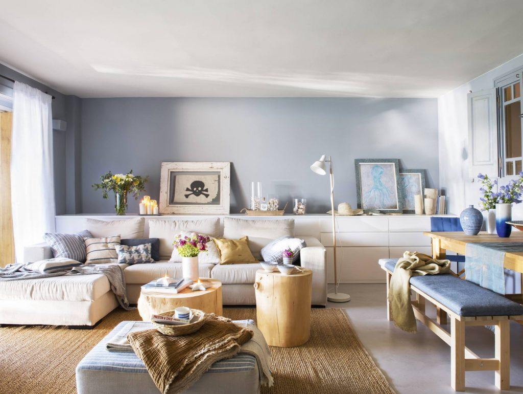 salon luminoso en color blanco y azul
