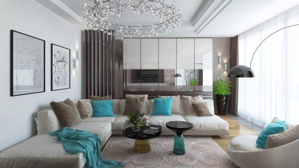 salon moderno bonito con toque de color