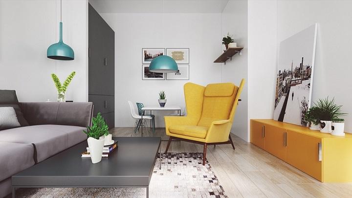 salón  en color Mostaza y gris