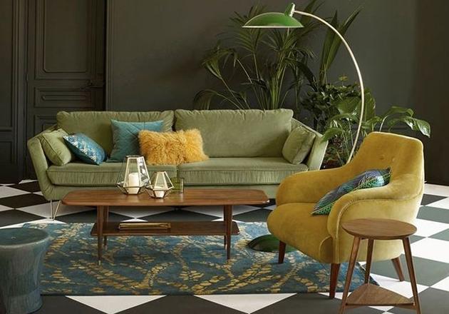 salón  en color Mostaza y verde