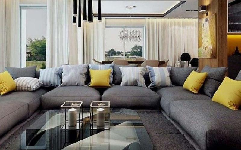 Ideas con Sofás grises con cojines Amarillos - Decoratips