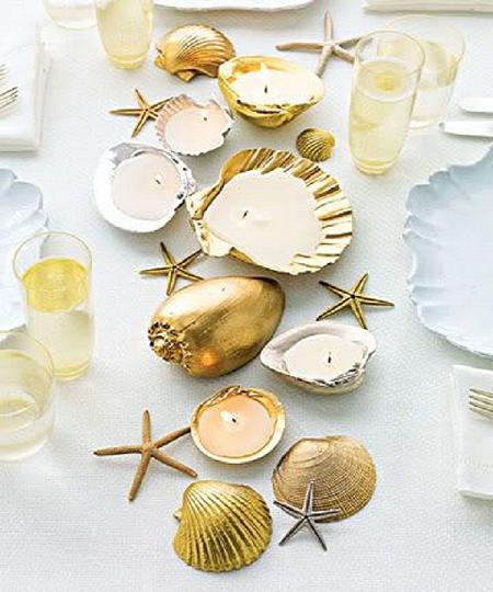 Velas en conchas para la mesa del salón