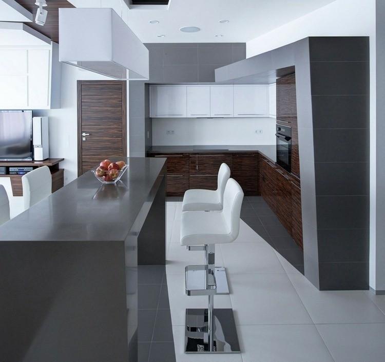 cocina de color gris minimalista