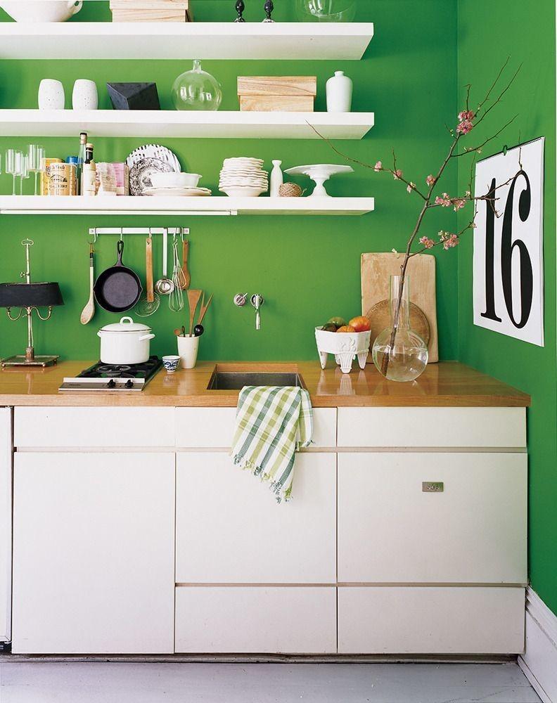 cocina decorada en verde intenso