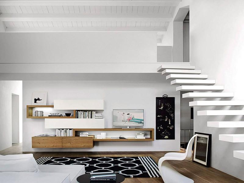 Salón moderno y blanco