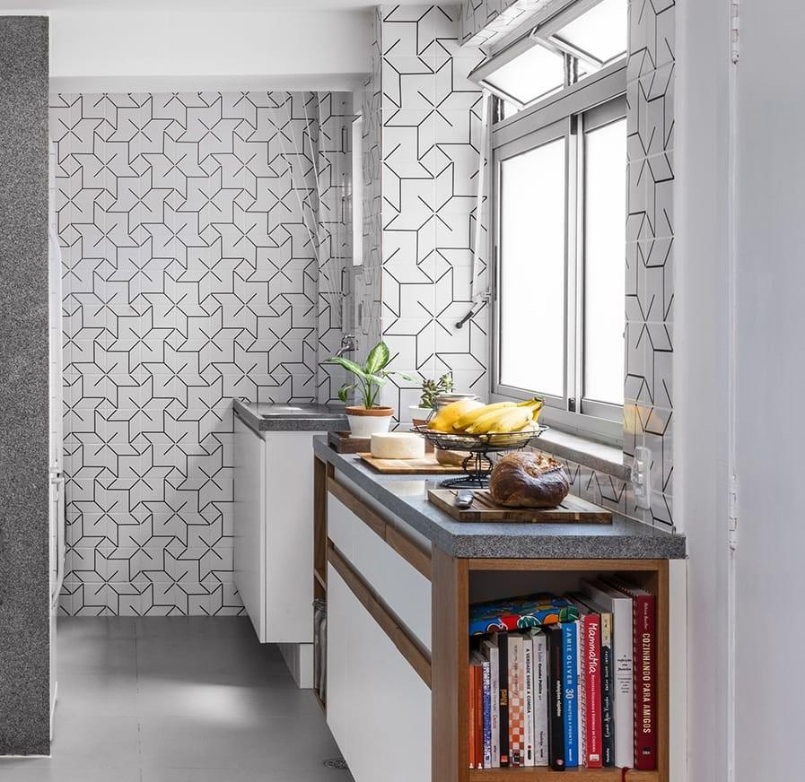 Cocinas con cerámica con patrones en la pared