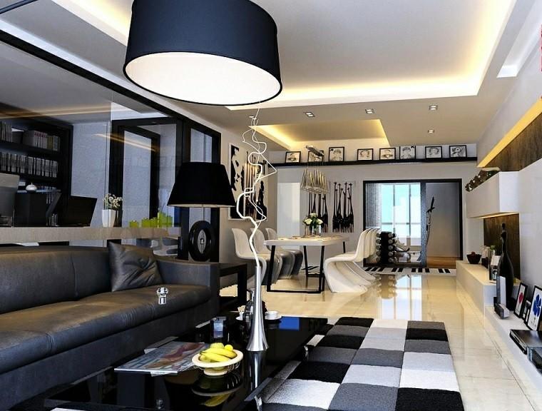 salon comedor blanco y negro con azul y gris