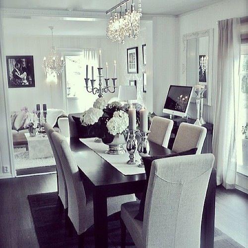 salon comedor blanco y negro elegantes