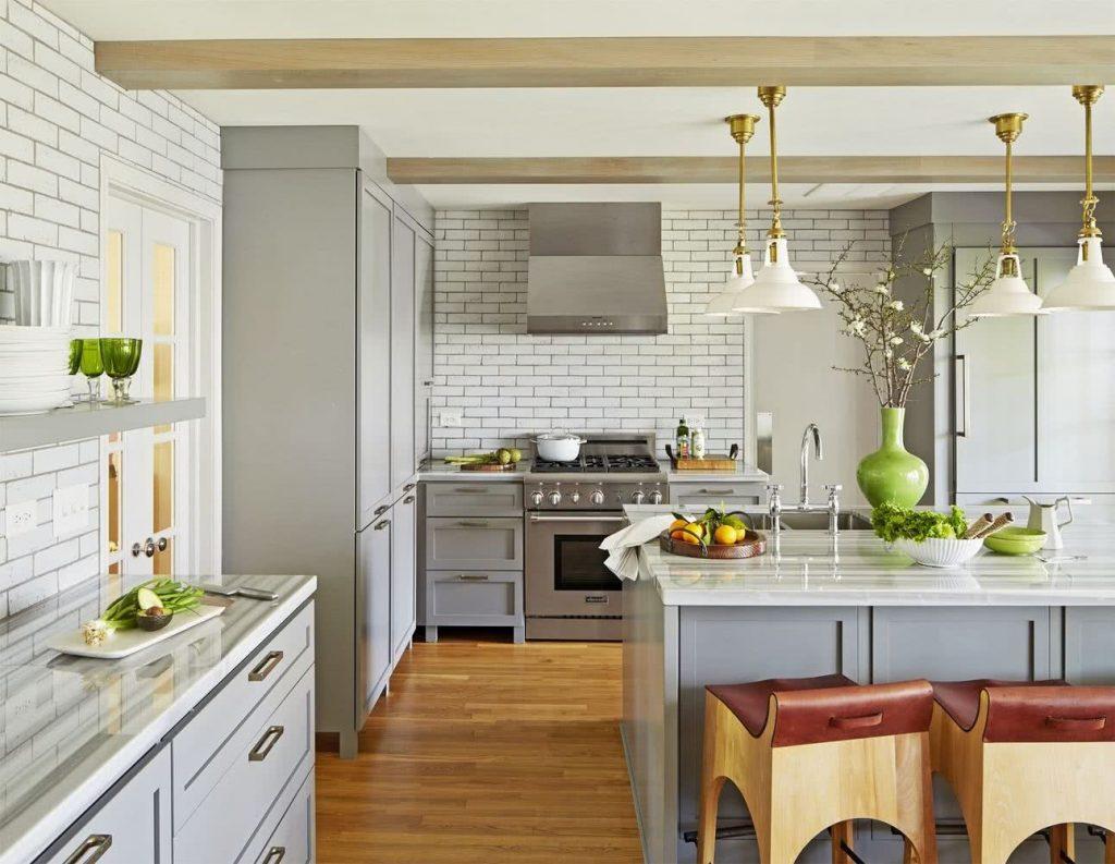 cocina de color gris luminosa