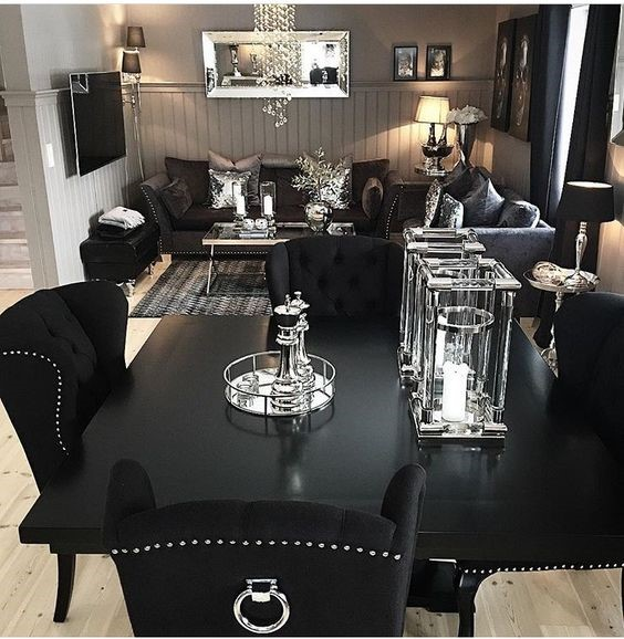 salon comedor blanco y negro elegante y lujoso