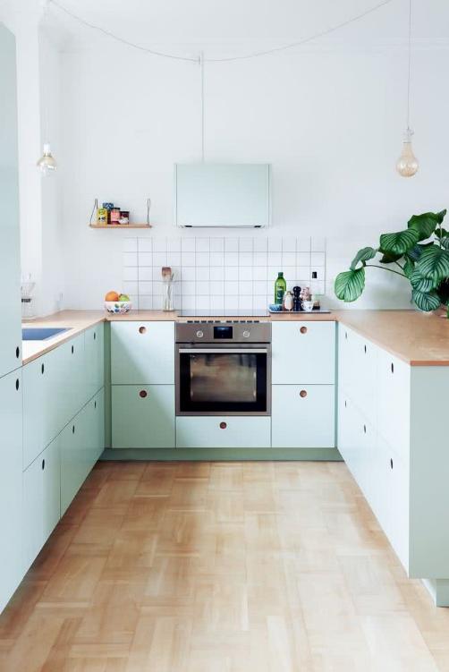 pintar tu cocina pequeña de color verde