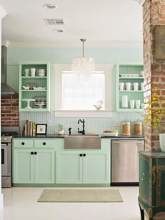 decorar la cocina verde minimalista
