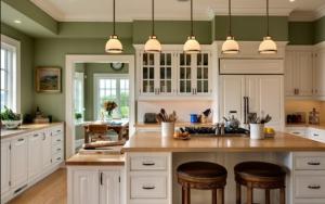 cocina decorada en color verde