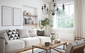 decoracion de salon blanco y madera