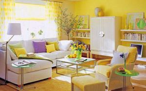 decorar un salon amarillo