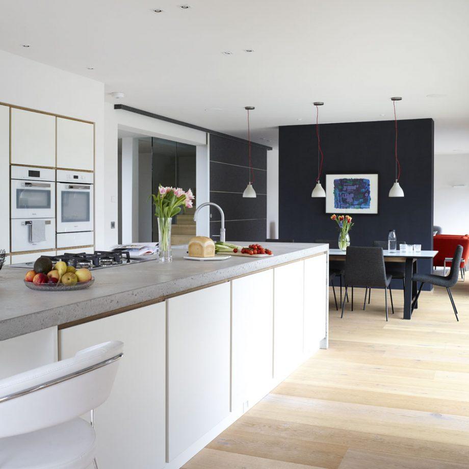 Salon con cocina americana pequeña con paleta de colore moderna