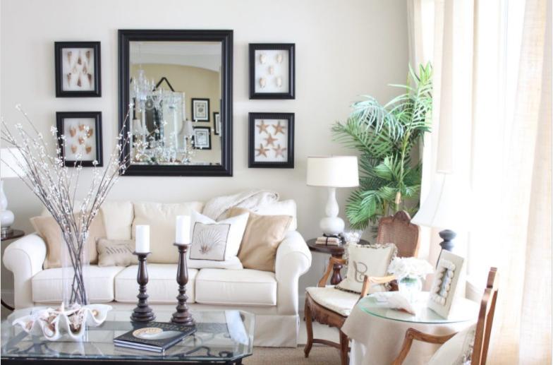 salon pintado de Beige, elegante y Familiar