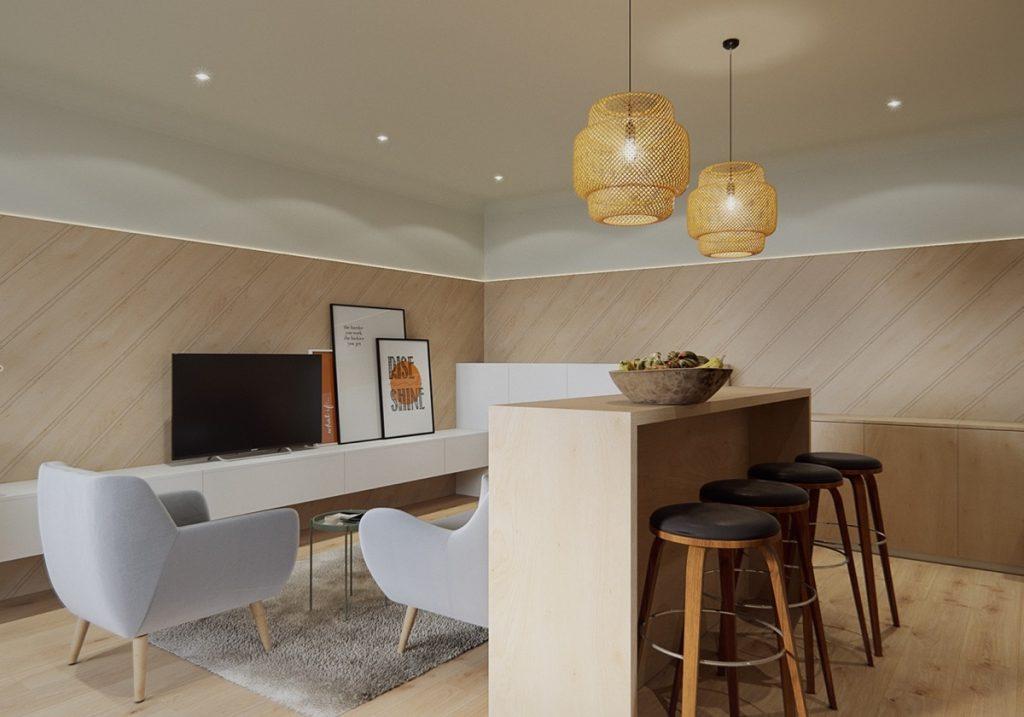 decorar un salón comedor de 20 metros cuadrados con barra