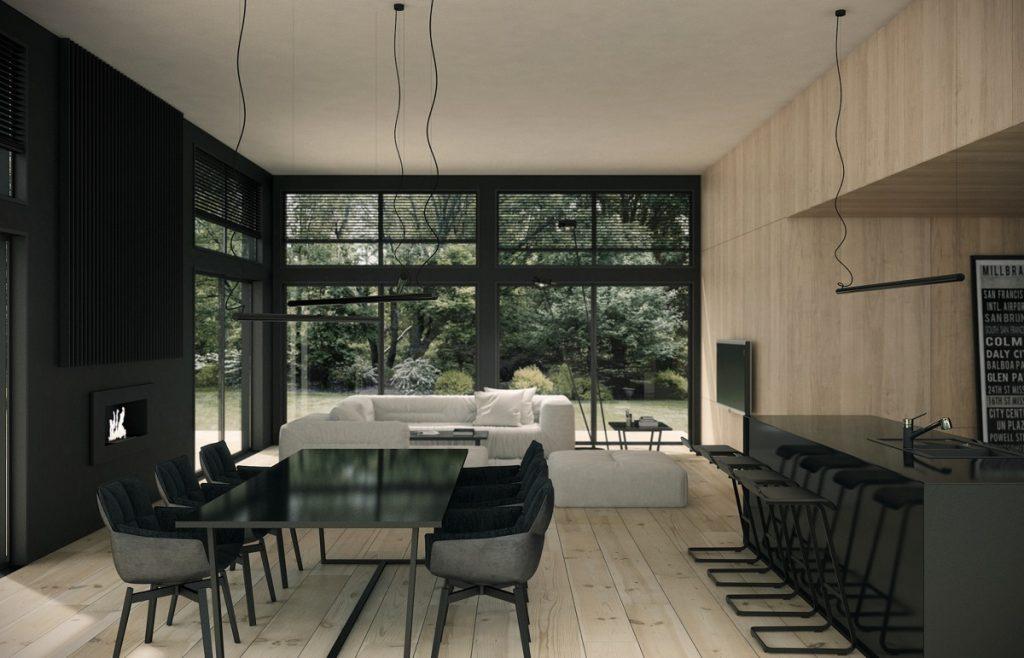 decorar un salón comedor de 20 metros cuadrados blanco y negro