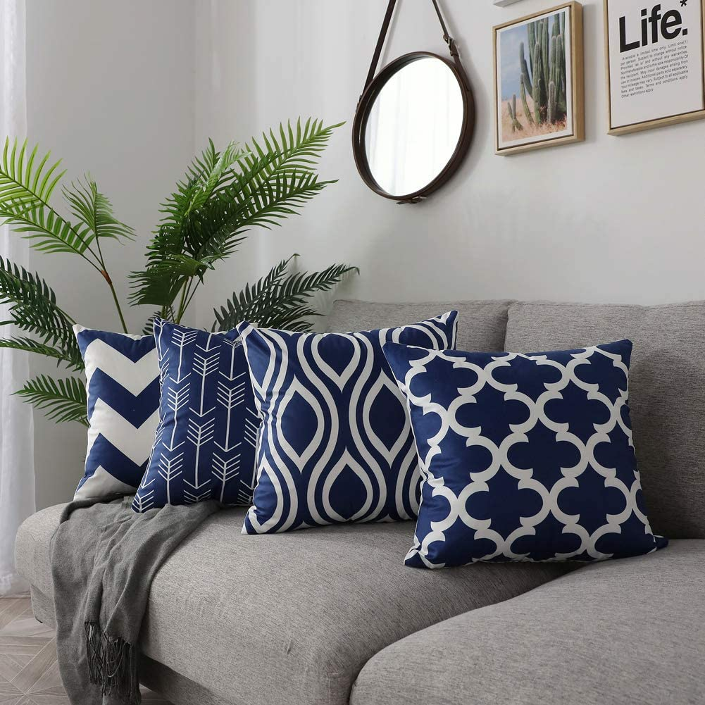 Más formas geométricas para tus cojines azules