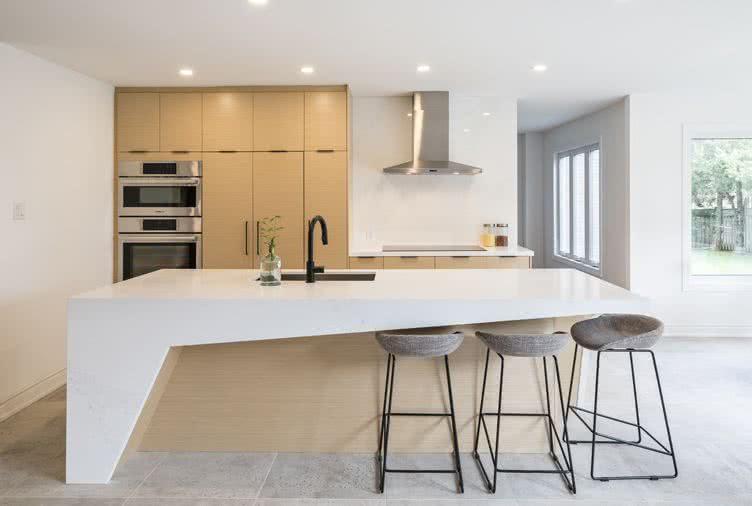 cocinas con paredes blancas minimalista