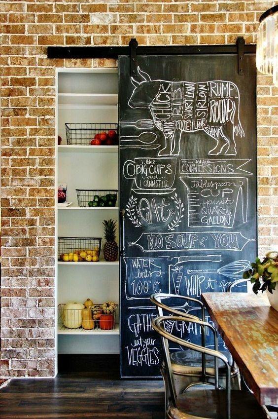 cocina con pared de pizarra móvil