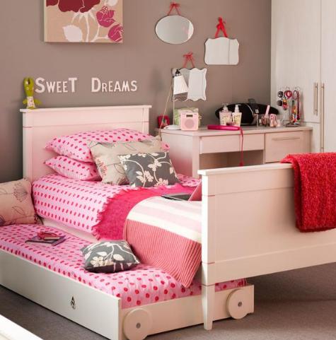 cuartos para niña de 11 años modernos rosa y gris